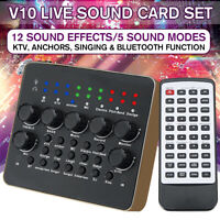 V10 Audio Live Recording KTV Sound Card Device Headset Mixer For Phone Computer