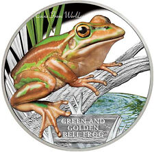 Tuvalu 2017 - 1$ Endangered and Extinct Green & Gold Bell Frog 1oz Silver Proof
