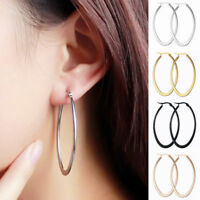 Women's Girl's Titanium Stainless Steel Oval-shaped Round Dangle Hoop Earrings