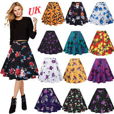 UK Womens Vintage Retro 50s Rockabilly Jive A Line Swing Skirt Party Mini Dress
