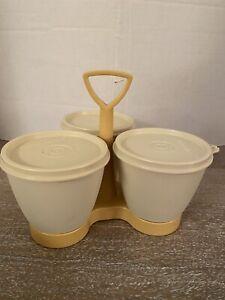 Vintage Tupperware 3 Bowl Condiment Caddy Server In Harvest Gold
