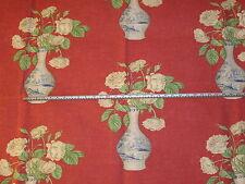 'Sylvan Rose' Coral, Jane Churchill Linen Cotton Floral Furnishing Fabric 2.4 mt
