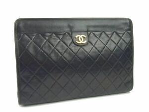 CHANEL Lamb Leather Quilted Clutch Bag Pouch Women Black N1569