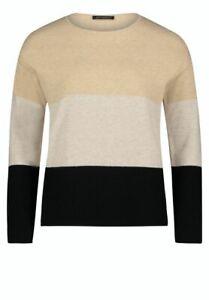 Betty Barclay Jumper Size 12 BNWT Black Camel Beige Stripe RRP £80 Now £36