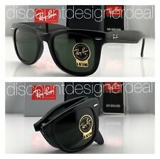 Ray-Ban RB4105 Folding Wayfarer Sunglasses 601 SHINY Black Green G-15 Lens 50mm