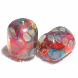 RED POP Pair(2) Handmade Art Glass Beads Flaming Fools Lampwork Art Glass SRA