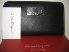 $575 NEW Salvatore Ferragamo Zip Around Black Leather Wallet Silvertone Gancini