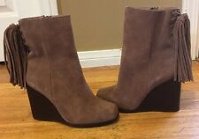 Jeffrey Campbell Suede Tassel wedge ankle boot SZ  7.5  **$210**