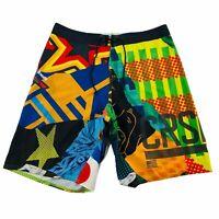 Reebok Crossfit Mens Board Shorts Size 30 Hybrid Colorful Color Block Training
