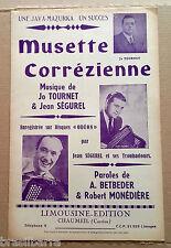 1 PARTITION : MUSETTE CORREZIENNE par Jean Ségurel et ses troubadours 1953