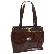 97906754e185 Auth Salvatore Ferragamo Vara Shoulder Tote Bag Brown Patent Leather M13744