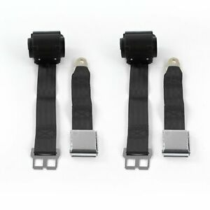 Camaro 1967 1969 Airplane 2 Pt. Black Retractable Bucket Seat Belt Kit 2