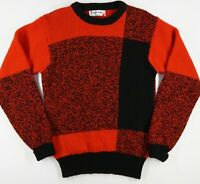 Vtg Pringle Sports Scottish Shetland Wool Red Black Block Crew Neck Sweater Ms S