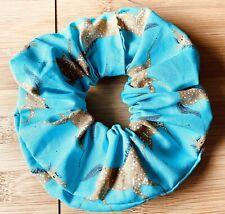 HANDMADE HAIR SCRUNCHIE Turquoise/Blue Horses Retro