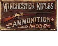 "16"" X 8 1/2"" WINCHESTER RIFLES & AMMUNITION FOR SALE HERE METAL SIGN NEW"