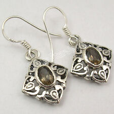 Quartz Old Style Cast Earrings 3.4 Cm 925 Pure Silver Fancy Faceted Brown Smoky