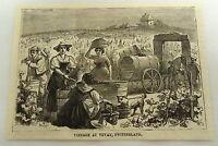 1879 magazine engraving ~ WOMEN MAKING WINE ~ Vevay, Switzerland