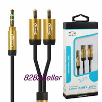 3m 10FT Slim Premium Gold 3.5mm Stereo Male to 2 RCA Plug Cable Smart Phone NEW