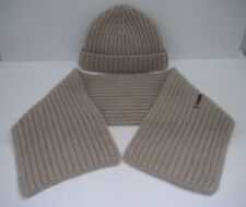 LORO PIANA beige chunky 14 ply cashmere knit hat and scarf 2-piece set