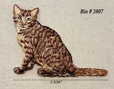 """1pc Brown / White Calico Cat Sitting down Iron On Embroidered Applique 2.75"""" H"""