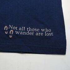 NEW NOT ALL THOSE WHO WANDER ARE LOST CAMPING HIKING EMBROIDERED T SHIRT Sz XL