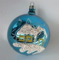 Vintage Xmas ornament Blue Mercury Glass Hand Painted Log Cabin In woods Mica