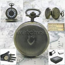 Antique Brass Color Guilloche Pattern Unisex 39 MM Pocket Watch Chain Box P213