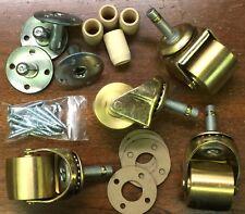 Brass Wheel Caster Kit/Set For Upright/Studio Pianos - 4 Casters+Hardware