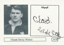 Claude Davey Wales Rugby Player Signed Photo Card Original Autograph