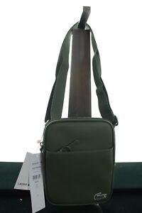 BNWT LACOSTE NH2021PO MEN'S GREEN PVC CROSS-BODY SHOULDER BAG 22 X 3 X 18 CM