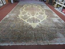 10' X 19' Antique Persian Kirman Kerman Wool Rug Hand Knotted Atieh Crowned Nice