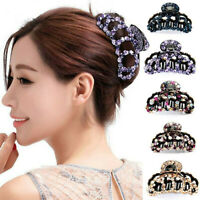Women Plastic Hair Claw Crystal Banana Grip Big Hair Clip Hairpin Crab Jaw Clamp