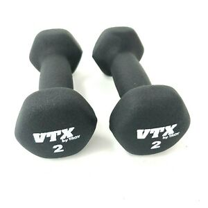 Set of 2 -  2 lb Pound Troy Barbell VTX Neoprene Dumbbells Used Weights