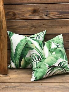 """Tommy Bahama Indoor/Outdoor Green and White Tropical Palm Leaf Cushion Cover 18"""""""