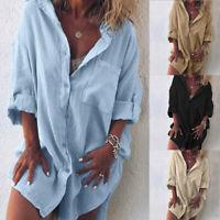 Mode Femme Chemise Loisir Manche Longue Revers Casuel en vrac Haut Jupe Plus