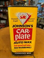 Vintage Original Johnson's Car-Plate Auto Wax 10 Ounce All Metal Can