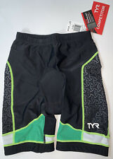 """TYR Men's Small Black Green Shorts 9"""" Triathlon Exercise Amp Pad COMPETITOR New"""