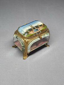 BELGIUM LIEGE 1905 EXPOSITION  -  A GLASS & GILT METAL PICTORIAL TRINKET BOX