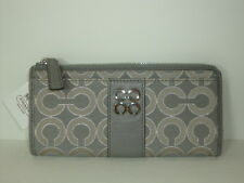 Coach Julia  Metallic Optic Stripe Slim Zip Wallet ~ Dove Silver 47653