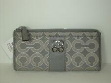 Coach Julia  Metallic Optic Stripe Slim Zip Wallet ~ Dove Silver 47653