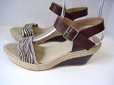 Kanna Leather Platform Animal Print Wedges Made In Spain Size 41 Excellent