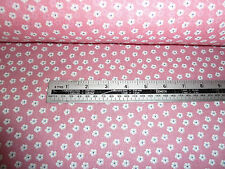 PINK , BLUE  AND WHITE SMALL  FLORAL  FLOWER  DESIGN POLY COTTON BY THE METRE