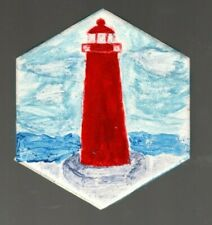 Grand Haven South Pier Lighthouse Hexagonal Hand-Painted Decorative Tile Coaster