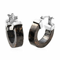 Boho Handmade 925 Sterling Silver Karelian Shungite Hoops Hoop Earrings Ct 15.8