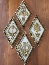 1970s Decorative Gilt Roman Theme Wall Art Hangings Homco USA Vintage Lot of 4