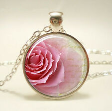 Vintage Rose Species Cabochon Tibetan silver Glass Chain Pendant Necklace new