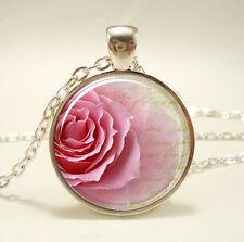 Vintage Rose Species Cabochon Tibetan silver Glass Chain Pendant Necklace