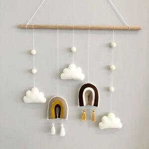 Wooden Wall Hanging Home Nursery Decor Tassels Macrame Rainbow Cloud Wool Felt