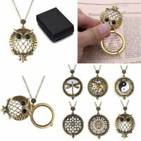 Gold Plated Vintage Design Magnifying Glass Pendant Necklace Grandma's Mom Gift