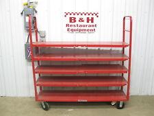 Red 5 Shelf Heavy Duty Warehouse Grocery Stock Cart Rack Table
